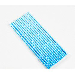 Blue Straw with White Dots
