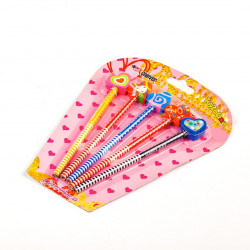 Pencil Set with Eraser Hearts