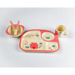 5pc Bamboo Dinner Set Pink
