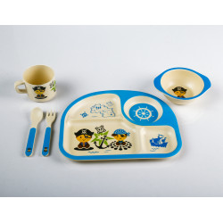 5Pc Bamboo Dinner Set Blue